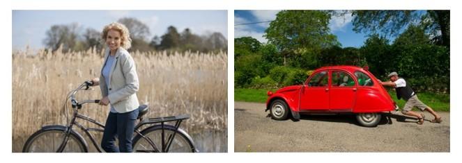 Pushing bike and car cropped